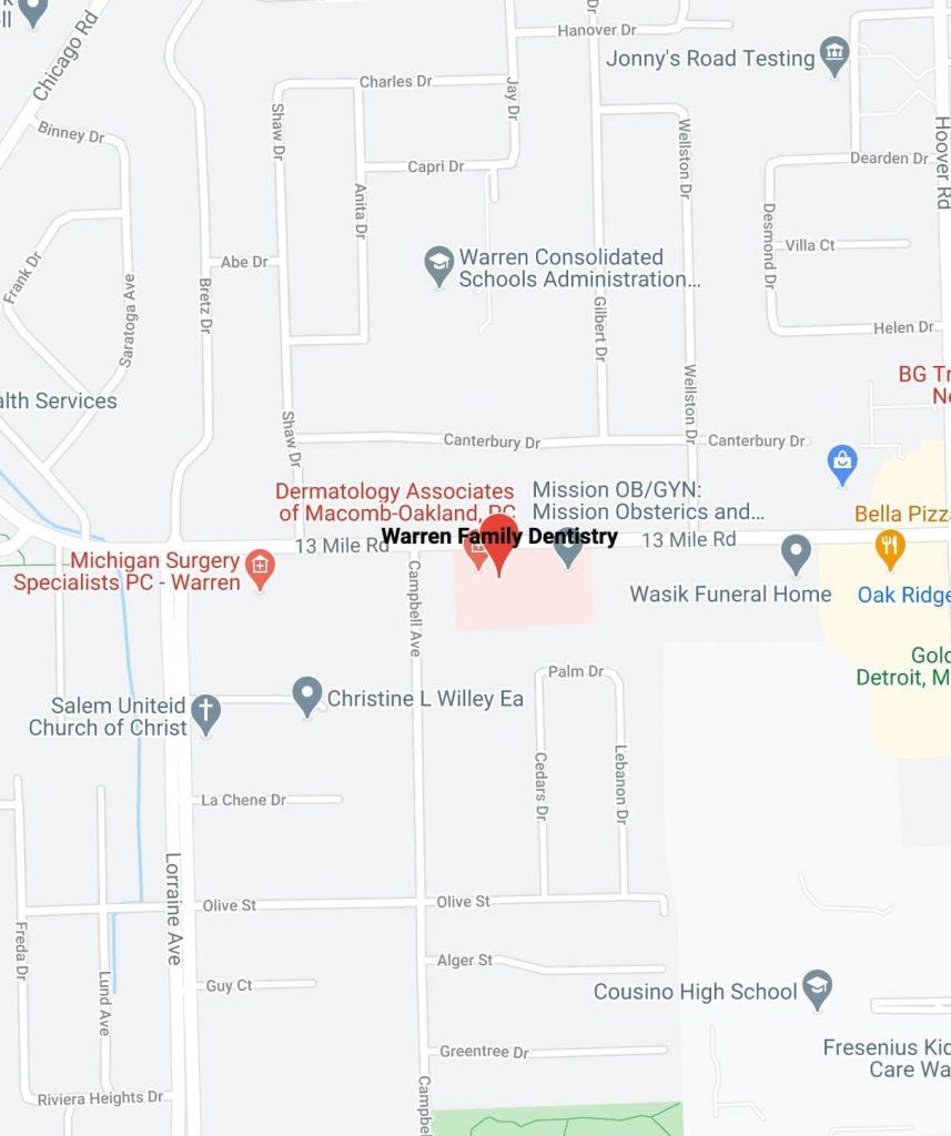 Map of Warren Family Dentistry in Warren Michigan