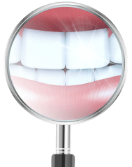 A dental mirror showing sparkling white front teeth