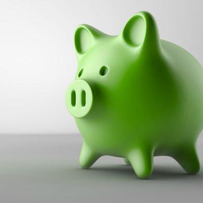 A green piggy bank